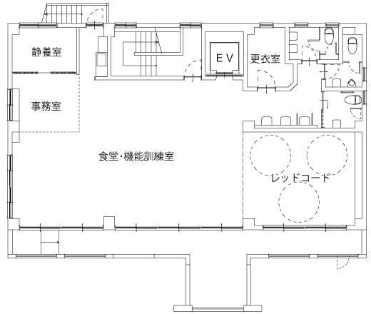 デイサービス あいの里 施設の平面図 2F