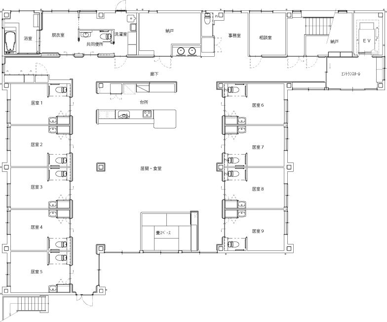 グループホーム あいの里 施設の平面図 1F
