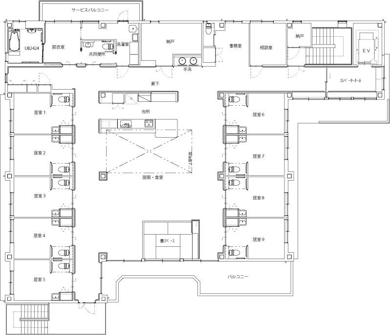 グループホーム あいの里 施設の平面図 2F