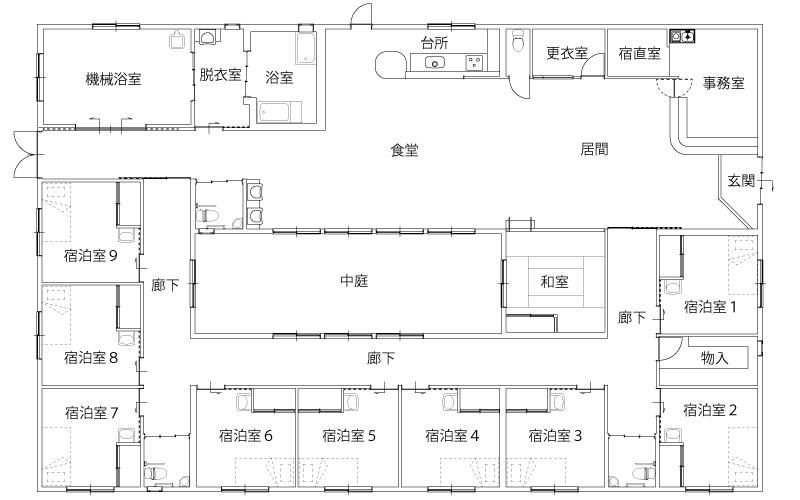 あいの里 第2小規模多機能型居宅介護施設 施設の平面図